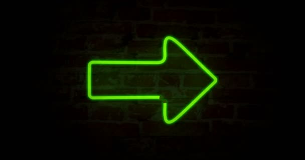Green arrow neon symbols on brick wall background. Glowing direction sign in seamless and loopable animation.