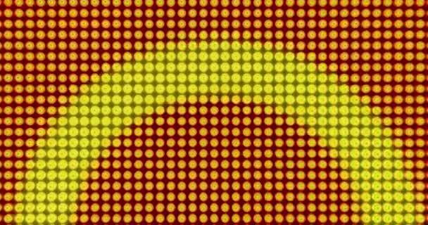 Növekvő körök, sárga LED-es háttér. Disco izzók animáció, végtelenített és végtelen animáció, zene, koncert, esemény és videó.