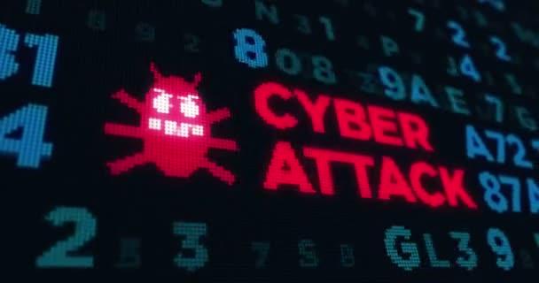 Loopable animáció, kiber támadás, a számítógép védelmének, a biztonság és internet biztonság. Elvont fogalom háttér, a magánélet, a virtuális térben.