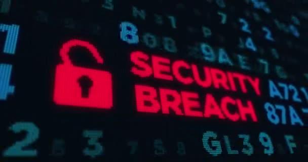 Loopable animace, narušení bezpečnosti, ochrana počítače, kybernetické bezpečnosti a zabezpečení internet. Pozadí abstraktní pojem soukromí v kyberprostoru
