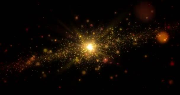 Zlatá galaxie abstraktní pozadí. Vesmír průzkum koncept nekonečné a loopable animace.