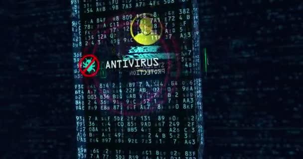Cyber security koncept 3d animace. Létající kolem digitální bloku ochrany údajů, brána firewall, ochrana počítače a antivirový.