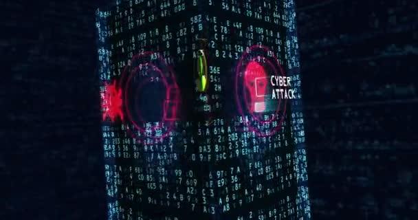 Cyber támadás 3d absztrakt animáció zökkenőmentes. Metafora, szaggató köhögés, a bűnözés, a lopás, a magánélet, adatok, identitás, a virtuális térben. Looping repülni dinamikus számok, bináris háttér.