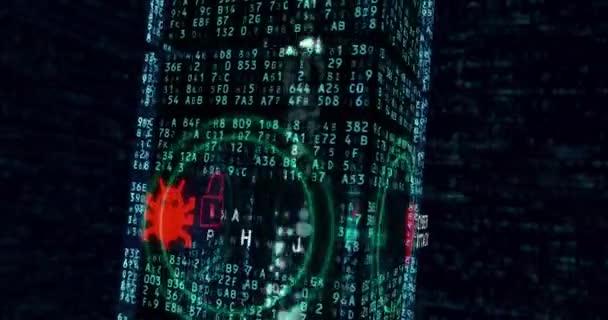 Cyber útok a data krádež nekonečné koncept pozadí. Ochrana školák a krádež dat, soukromí a přístup k zařízení. 3D létání kolem digitální blok s počítači symboly v smyčky animace.