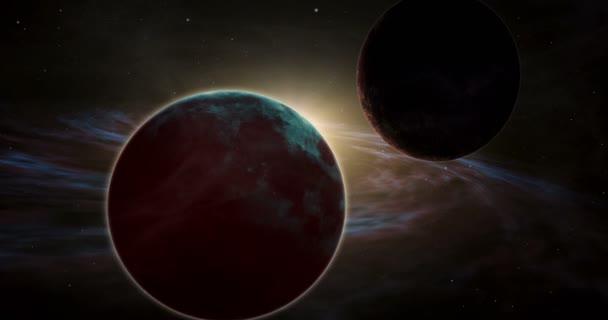Exoplanety průzkum ve vzdáleném vesmíru. Planetě sunrise v exotických sluneční soustavy s mlhovina plynových mračen. Vesmír a hvězdy světelných let od země. Koncept Kosmos