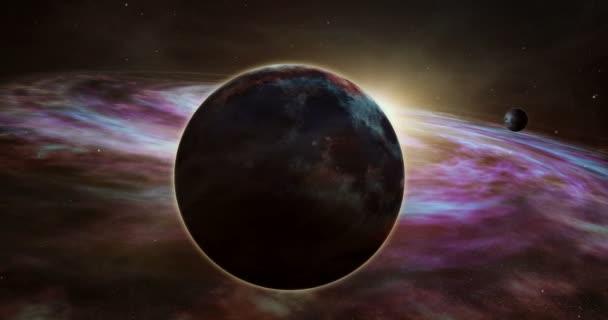 Exoplaneta sunrise a cosmos průzkum. Realistické 3d letu mezi hvězdy, planety a mlhovina plyn mraky ve vzdálené galaxii. Prostor cestování světelných let od země koncepce animace