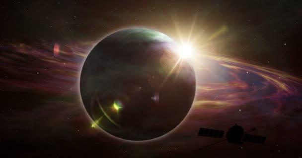 Űrhajó körül keringő és fedezze fel Naprendszer távoli és exobolygók. A föld a mély cosmos fényév űrszonda.