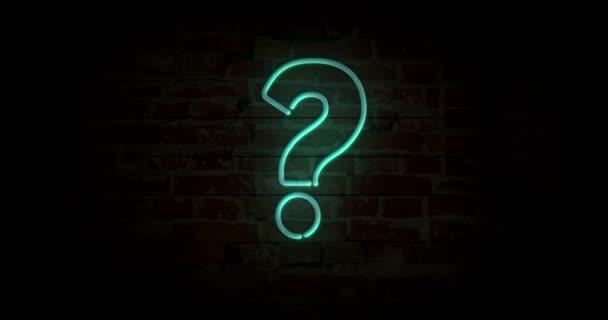 Top Fragezeichen Neon Unterzeichnen Ziegel Wand Hintergrund Beleuchten TK58