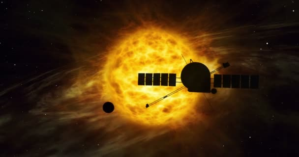 Realistic 3D flight of spacecraft through distant solar system. Cosmos exploration by spaceship on sun orbit. Galaxy travel light-years from earth concept animation.