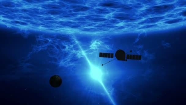 Vzdálených exoplanet průzkum o vesmírné sondy. Let nad velké modré kvasar povrchu s gama záření, plazma erupce a energie exploze. Astronomii umělecké koncepce animace.