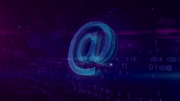 E-mail na symbol koncept. Internetová komunikace ikonu 3d abstraktní animace. Tvar a obrys zpráv podepsat na digitální pozadí.