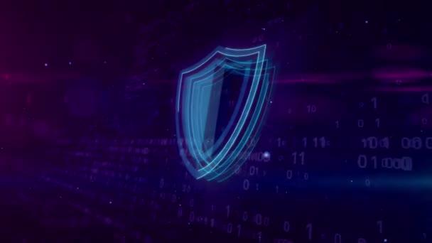 Cyber security elvont fogalom. 3D kontúr pajzs ikon a digitális háttér. Számítógépes biztonsági szimbólum animáció.