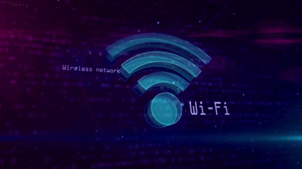 Wi-Fi Zeichen auf digitalen Hintergrund. Netzwerk-Kommunikation und Wireless-Symbol net nahtlos und Endlos wiederholbar Computeranimation. 3D Form und Kontur des Wifi-Symbol.