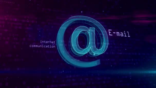 E-mail @ symbol koncept. Internetová komunikace a sociální média 3d abstraktní bezešvé a loopable animaci ikony. Tvar a obrys zpráv podepsat na digitální pozadí.