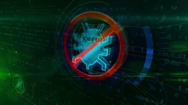 Antivirus-Symbol auf digitalem Hintergrund. Internet-Wurm-Verbot Symbol für abstrakte binäre Animation.