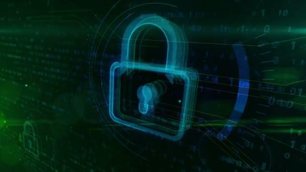 Kybernetická bezpečnost na digitální pozadí s visacím zámkem. Je abstraktní koncept ochrany.