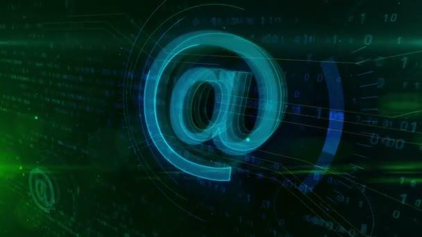 E-mail @ na ikonu abstraktní pojem. Internetová komunikace a sociální média symbol na digitální pozadí.