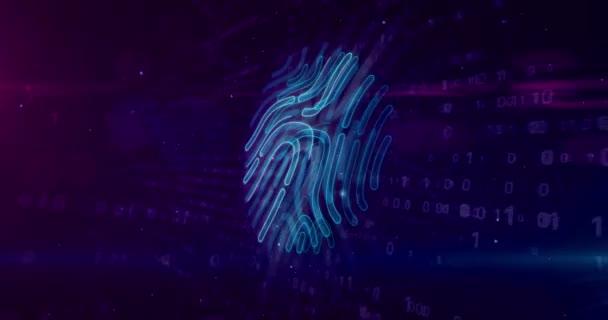Digitální otisk symbolu na digitální pozadí. Technologie osobní identifikace s rukou prst bezpečnostní systém abstraktní pojem