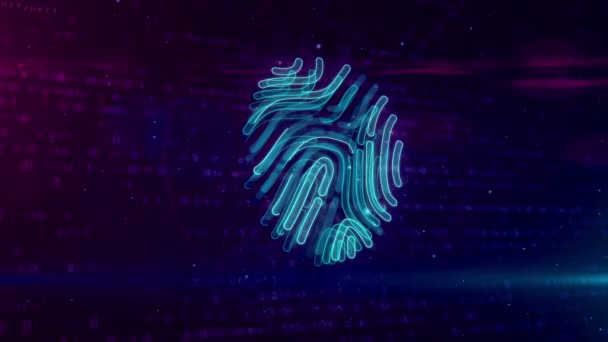 Cyber ochrana identifikací otisků prstů na digitální pozadí. Technologie digitální bezpečnosti s rukou prst ověřovací systém abstraktní pojem cyklus a plynulé animace a osobní autorizace