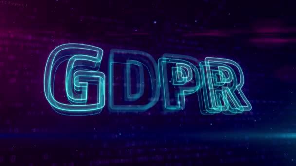 Gdpr obecné nařízení předpisů na ochranu údajů o digitálních pozadí. Bezpečnost osobních údajů v Evropské unii. Opakování a plynulé animace.