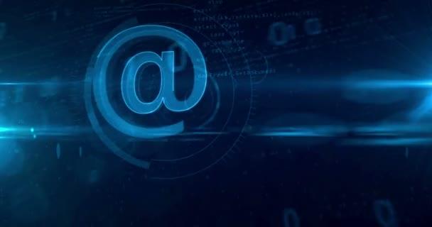 E-mail @ na ikonu abstraktní pojem. Opakování tunelu abstraktní animace internetové komunikace a sociální média ikony.