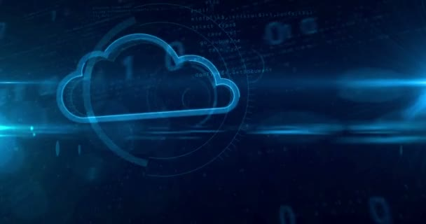 Digital cloud symbol on cyber background. Looping tunnel abstract animation of computing cloud and data storage icon.