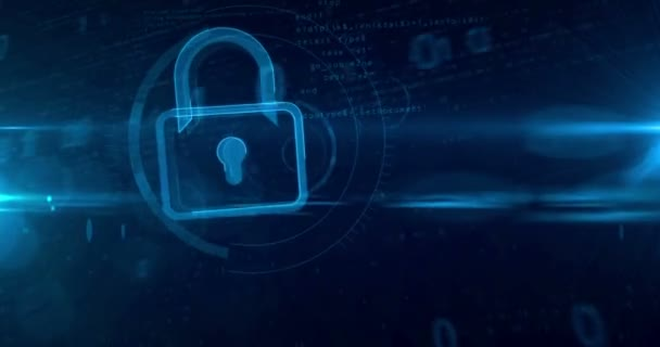 Digital padlock symbol in cyberspace. Looping tunnel abstract animation of cyber security icon on digital background.