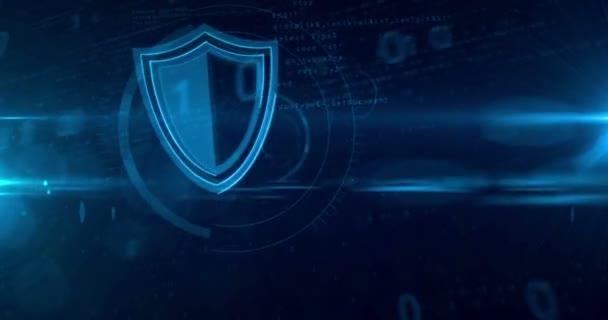 Számítógépes biztonság, a digitális háttér pajzs ikon. Hurkolás és zökkenőmentes tunnel elvont animáció az adatvédelem.