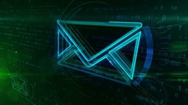 Internetová e-mailová komunikace v kyberprostoru s obálkou podepsat na digitální pozadí. Korespondenční bezpečnost a digitálních zpráv symbol abstraktní pojem animace.