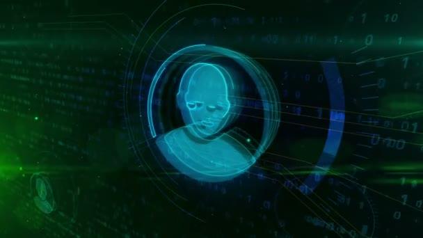 Cyber soukromí na internetu a sociálních médií symbol s tvarem obličeje na digitální pozadí. Kyberprostoru profilu a sociálních sítí abstraktní pojetí animace