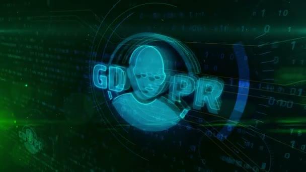 Nařízení o ochraně obecných údajů Gdpr jednat s tváří ikonu na digitální pozadí. Soukromí bezpečnost v Evropské unii koncepce animace