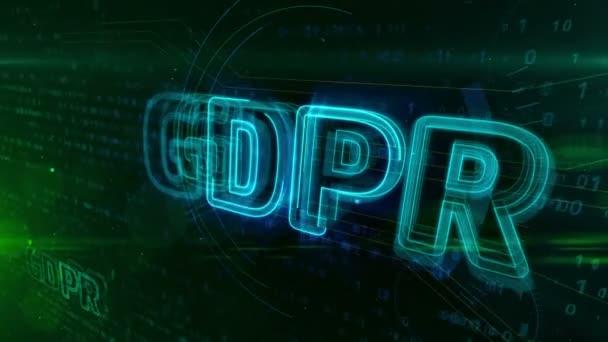 Gdpr obecné nařízení zákona o ochraně dat na digitální pozadí. Soukromí bezpečnost v Evropské unii koncepce animace