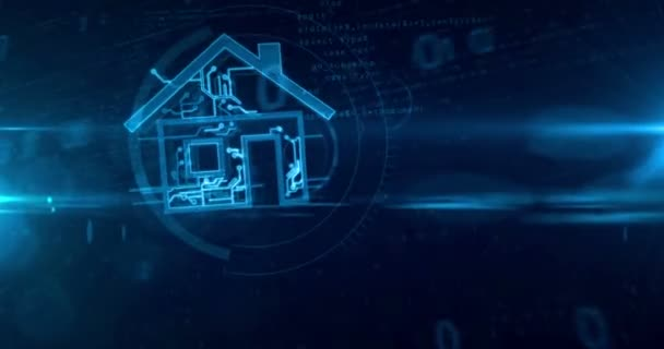 intelligentes Haus und iot home network abstraktes Konzept auf digitalem Hintergrund. dynamische und glühende intelligente Gebäude Hologrammform 3D loopable und nahtlose Tunnelanimation.
