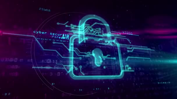 Cyber security, computer protection and internet safety symbol on digital background. 3D hologram with padlock sign, code and glitch effect. Abstract concept animation.