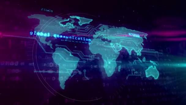 Světové obchodní spojení koncept s mapou světa. Abstraktní animace globální obchodní sítě, globalizace a digitální společnosti. Futuristické hologram na pozadí cyber