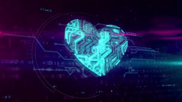Digitální srdce symbol v kyberprostoru. Abstraktní animace symbolu lásky nebo zdraví na digitální pozadí.