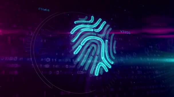 Otisků prstů symbol hologram analýzy na digitální pozadí. Technologie osobní identifikace s rukou prst bezpečnostní systém abstraktní pojem
