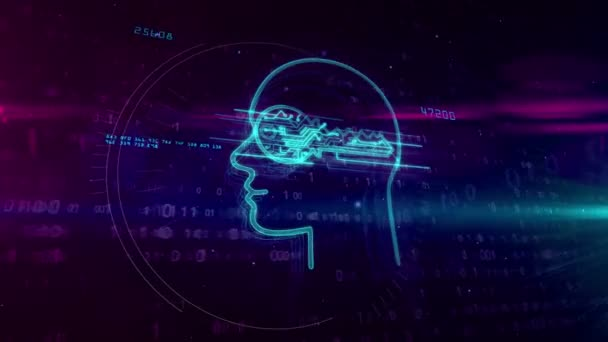 Cyber privacy and personal data protection technology symbol on digital background. Encryption, password safety, private key and attack prevention abstract concept 3D animation with glitch effect.