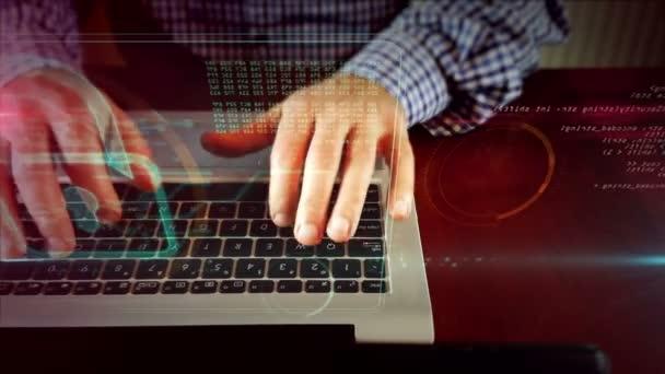 Muž, psaní na klávesnici notebooku sledování pro visací zámek na obrazovce s hologramem. Kybernetická bezpečnost, Internetová bezpečnost a počítač ochranu koncept. Fotoaparát, přesun křižovatka s čelní pohled psaní rukou.