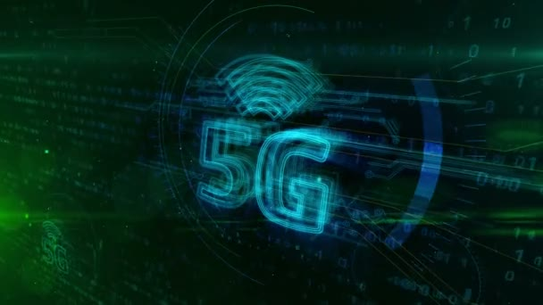 5G glowing sign - 5th generation of cellular mobile communications. Modern high speed wireless phone network 3d hologram symbol on dynamic digital background.