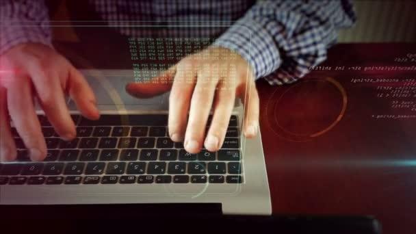 Mann tippt auf Laptop-Tastatur mit digitaler Taste auf Hologramm-Bildschirm. Kamera, die sich seitwärts bewegt, mit Vorderansicht schreibender Hände. Konzept für Cyber-Sicherheit, Computerschutz, Codierung und Verschlüsselung.