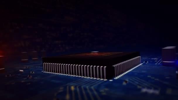 Cyber biztonság fogalom-val pajzs hologram felső működő CPU-ban háttér. Digitális védelem, tűzfal, kibertér és számítógép-biztonság absztrakt animáció. 3D repülés a futurisztikus áramköri.