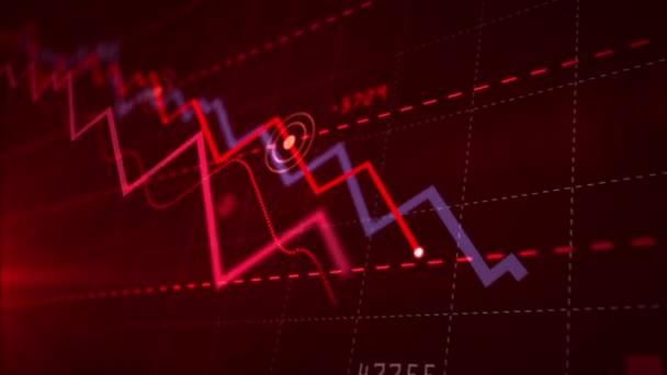 Rezession, Unternehmenszusammenbruch, Marktversagen, wirtschaftlicher Zusammenbruch und Aktienkrisenkonzept. roter dynamischer Abwärtstrend. 3D nahtlose und lückenlose Animation.