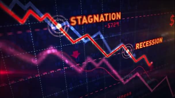 Aktienmärkte nach unten dynamisches Diagramm auf dynamischem blauen Hintergrund. Konzept der Stagnation, Rezession, Krise, Unternehmenszusammenbruch und wirtschaftlicher Zusammenbruch. Abwärtstrend 3D-Animation.