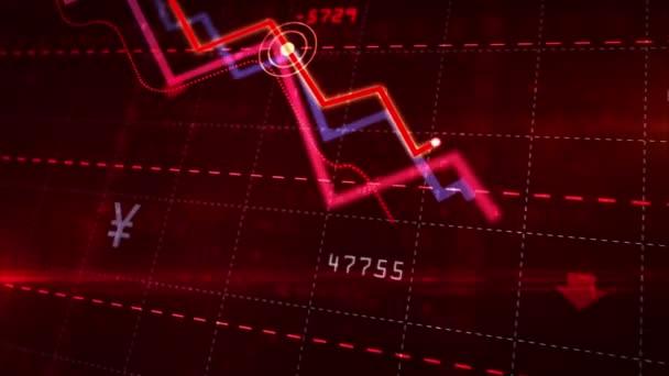 Aktienmärkte nach unten dynamisches Diagramm auf dynamischem roten Hintergrund. Konzept der finanziellen Stagnation, Rezession, Krise, Unternehmenszusammenbruch und wirtschaftlicher Zusammenbruch. Abwärtstrend 3D-Animation.