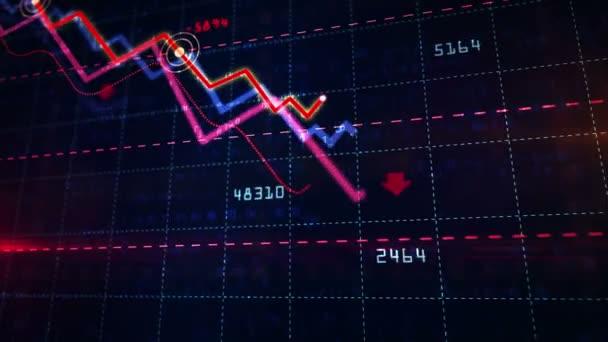 Aktienmärkte nach unten dynamisches Diagramm auf dynamischem blauen Hintergrund. Konzept der finanziellen Stagnation, Rezession, Krise, Unternehmenszusammenbruch und wirtschaftlicher Zusammenbruch. Abwärtstrend 3D-Animation.