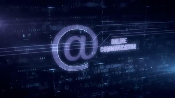 Online komunikace witn na symbolu modrý hologramový 3D animace. Futuristická koncepce internetové masáže, e-mailové a společenské mediální spojení na digitálním pozadí.