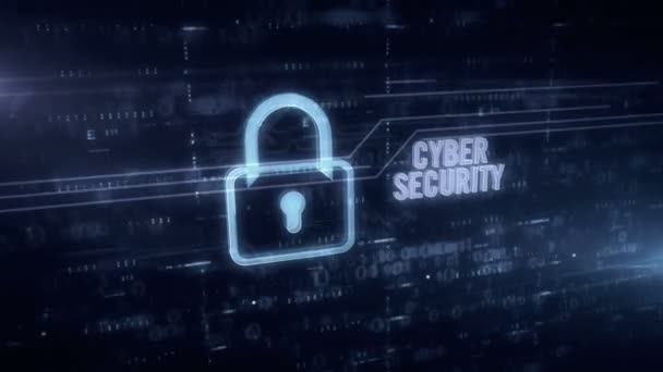 Cyber security and padlock symbol blue hologram 3d animation. Futuristic concept of digital protection, firewall and computer safety on digital background.
