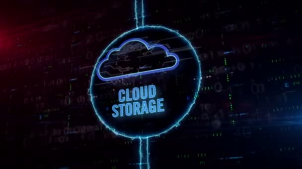Cloud storage symbol hologram in dynamic electric circle on digital background. Modern concept of data computing, online storage and document archive.