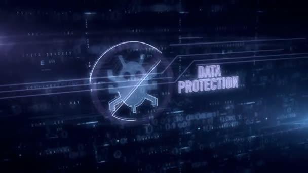 Ochrana dat a symbol pro ochranu proti virům 3D animace. Futuristická koncepce antivirového programu, ochrany počítače a bezpečnosti dat.